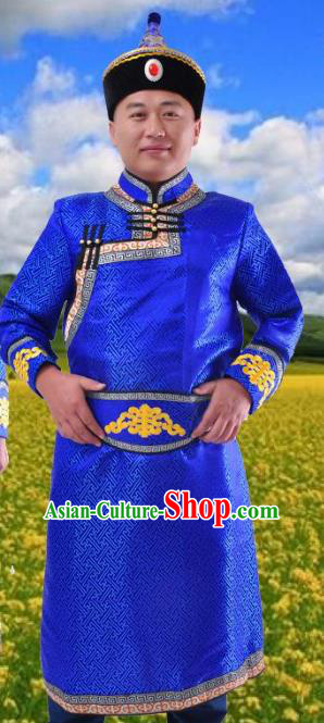 Chinese Mongol Nationality Costume Royalblue Mongolian Robe Traditional Mongolian Minority Folk Dance Clothing for Men