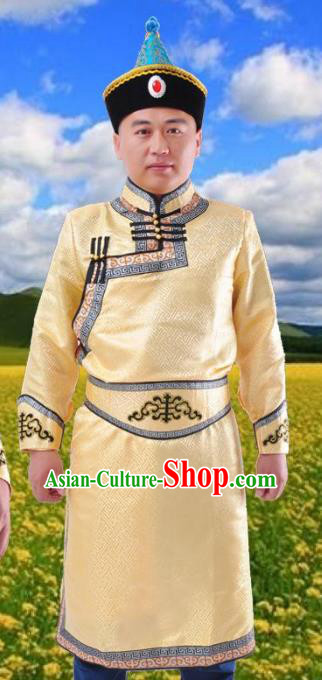 Chinese Mongol Nationality Costume Golden Mongolian Robe Traditional Mongolian Minority Folk Dance Clothing for Men