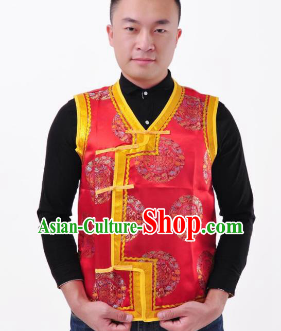 Chinese Mongol Nationality Costume Mongolian Red Vest Traditional Mongolian Minority Folk Dance Clothing for Men