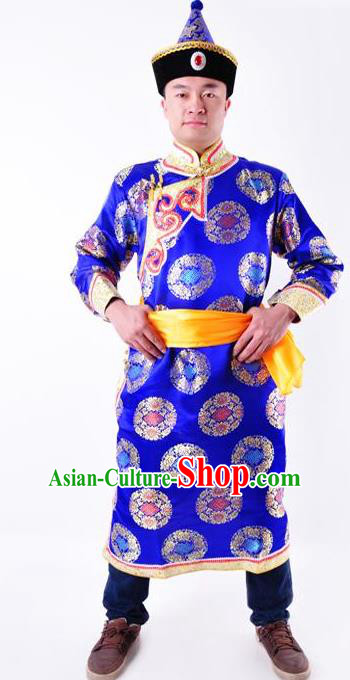Chinese Mongol Nationality Costume Traditional Mongolian Minority Folk Dance Royalblue Robe for Men
