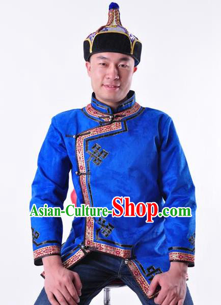 Chinese Mongol Nationality Costume Traditional Mongolian Minority Folk Dance Blue Coat for Men