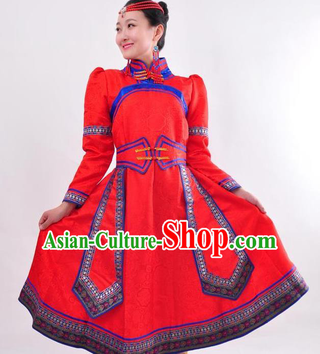 Chinese Mongol Nationality Folk Dance Red Dress Costume Traditional Mongolian Minority Clothing for Women