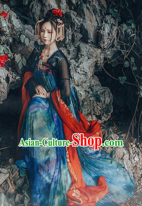 Ancient Chinese Palace Lady Costume Tang Dynasty Fairy Princess Embroidered Hanfu Dress for Women