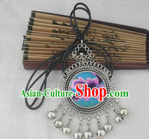Chinese Miao Sliver Ornaments Embroidered Blue Necklace Hmong Handmade Necklet Pendant for Women