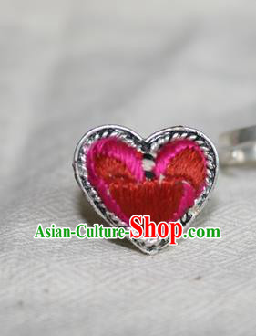 Chinese Miao Sliver Ornaments Rings Traditional Hmong Embroidered Rosy Finger Ring for Women