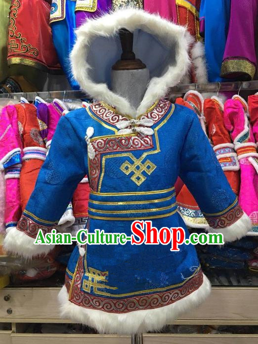 Chinese Traditional Girls Blue Mongolian Robe, China Mongolian Minority Folk Dance Ethnic Costume for Kids