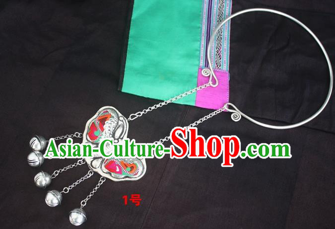 Traditional Chinese Miao Sliver Butterfly Necklace Ornaments Hmong Embroidered Longevity Lock for Women