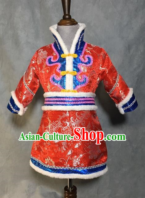 Chinese Traditional Mongol Nationality Red Mongolian Robe, China Mongolian Minority Folk Dance Ethnic Costume for Kids