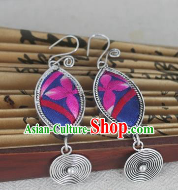 Chinese Miao Sliver Traditional Embroidered Purple Earrings Hmong Ornaments Minority Headwear for Women