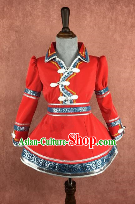 Chinese Traditional Girls Red Mongolian Robe Ethnic Costume, China Mongolian Minority Folk Dance Clothing for Kids