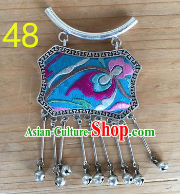 Chinese Traditional Miao Sliver Ornaments Accessories Longevity Lock Embroidered Blue Necklace Pendant for Women