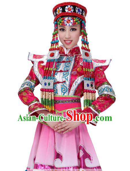 Traditional Chinese Mongol Nationality Pink Dress, Mongolian Minority Folk Dance Ethnic Costume for Women