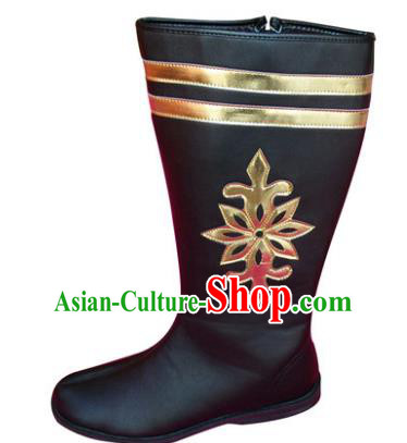 Chinese Traditional Mongols Dance Leather Shoes, Mongolian Minority Folk Dance Boots for Men