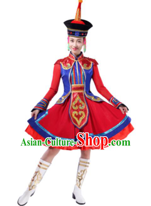 Traditional Chinese Mongol Nationality Red Dress, Mongolian Minority Folk Dance Ethnic Costume and Hat for Women