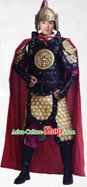 Traditional Chinese Ancient General Costume Tang Dynasty Military Officer Historical Body Armor and Helmet Complete Set