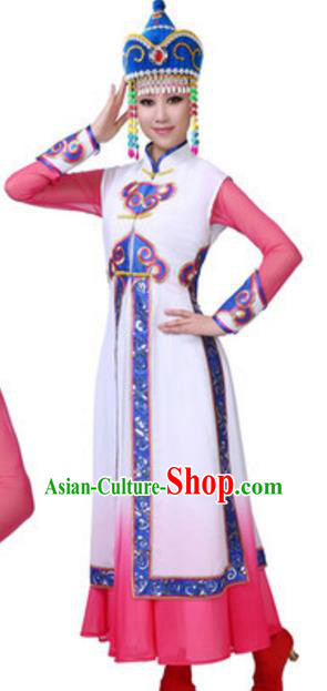 Traditional Chinese Mongolian Ethnic Dance Dress, China Mongols Minority Folk Dance Costume and Headwear for Women