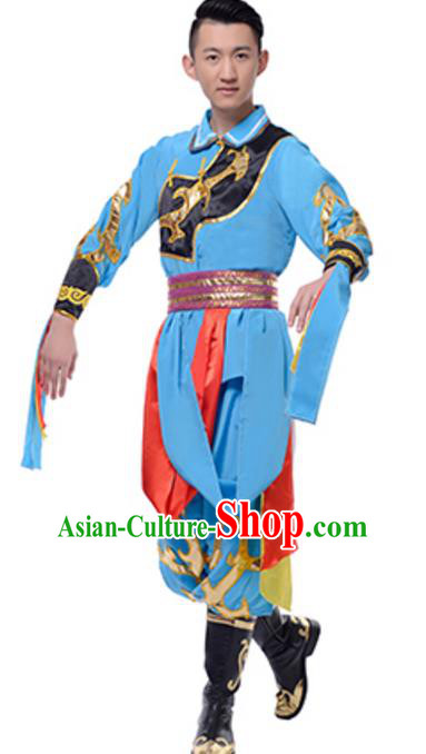 Traditional Chinese Mongolian Nationality Ethnic Clothing, China Mongols Minority Folk Dance Blue Costume for Men