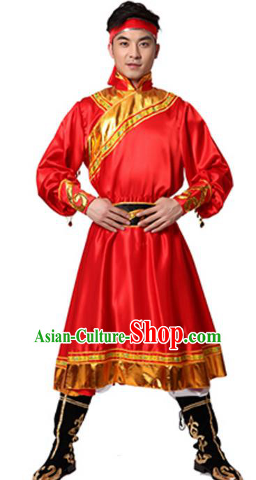Traditional Chinese Mongolian Nationality Ethnic Clothing, China Mongols Minority Folk Dance Red Costume for Men