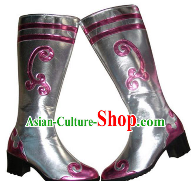 Chinese Traditional Zang Nationality Dance Shoes, Tibetan Minority Folk Dance Pink Boots for Women
