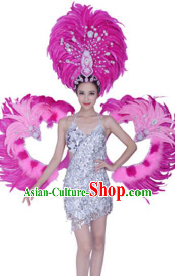 Top Grade Modern Dance Costume Stage Show Brazil Parade Giant Feather Wings and Headpiece for Women