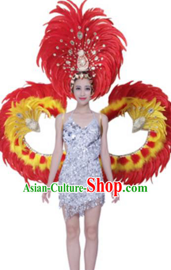 Top Grade Modern Dance Costume Stage Show Brazil Parade Giant Red Feather Wings and Headpiece for Women