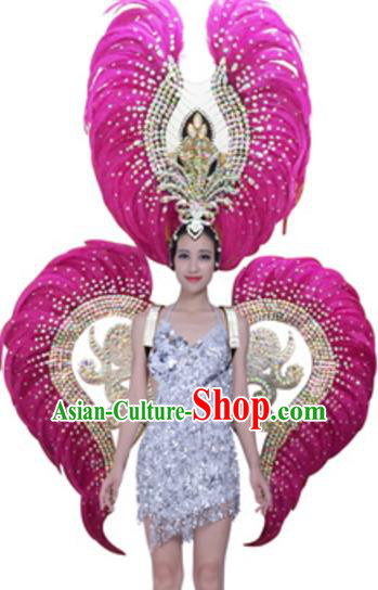 Top Grade Modern Samba Dance Props Stage Show Brazil Parade Giant Rosy Feather Wings and Headpiece for Women