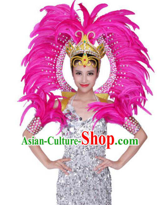 Top Grade Samba Dance Props Stage Show Brazil Parade Giant Pink Feather Wings and Headpiece for Women