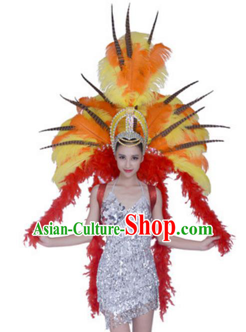 Top Grade Samba Dance Props Stage Show Brazil Parade Giant Yellow Ostrich Feather Wings and Headpiece for Women