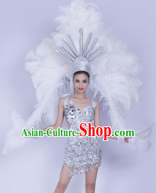 Top Grade Samba Dance Props Stage Show Brazil Parade Giant White Ostrich Feather Wings and Headpiece for Women