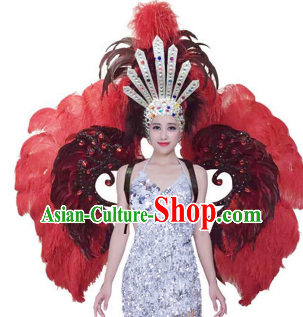 Top Grade Samba Dance Props Stage Show Brazil Parade Giant Red Ostrich Feather Wings and Headpiece for Women