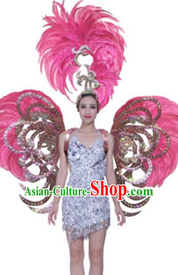 Top Grade Samba Dance Props Stage Show Brazil Parade Giant Pink Feather Butterfly Wings and Headpiece for Women