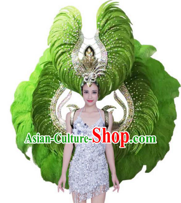 Top Grade Samba Dance Props Stage Show Brazil Parade Giant Green Feather Wings and Headpiece for Women