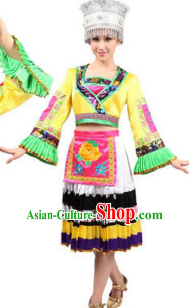 Traditional Chinese Miao Nationality Dance Pleated Skirt, Chinese Hmong Ethnic Folk Dance Clothing for Women