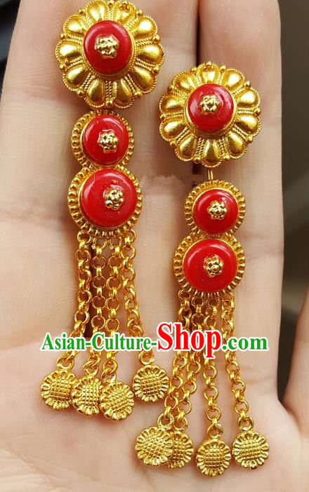 Traditional Chinese Zang Nationality Accessories Golden Earrings, China Tibetan Tassel Eardrop for Women