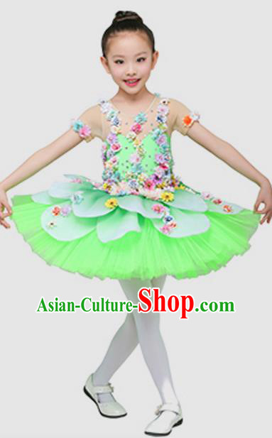 Top Grade Modern Dance Ballet Dance Green Dress Stage Performance Chorus Costume for Kids