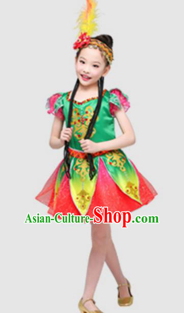 Top Grade Modern Dance Ballet Dance Green Veil Dress Stage Performance Chorus Costume for Kids