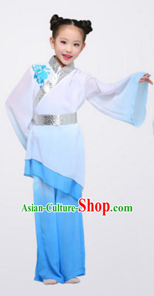 Top Grade Chinese Classical Dance Folk Dance Clothing Stage Performance Yangko Dance Blue Costume for Kids