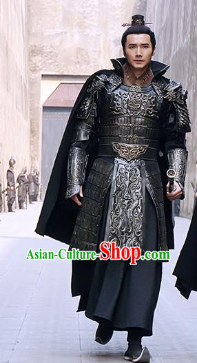 Chinese Ancient Qin Dynasty General Han Shen Historical Body Armor and Helmet Complete Set for Men