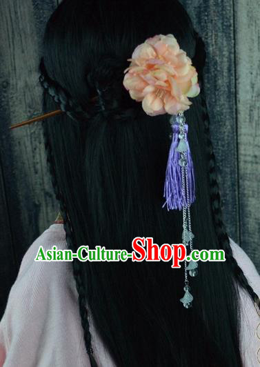 Chinese Traditional Ancient Hair Accessories Hanfu Pink Peony Hairpins Tassel Hair Clip Headwear for Women