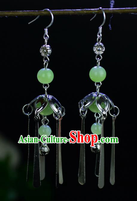 Chinese Traditional Ancient Earrings Accessories Hanfu Green Beads Eardrop for Women