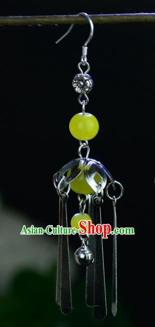 Chinese Traditional Ancient Earrings Accessories Hanfu Yellow Beads Eardrop for Women