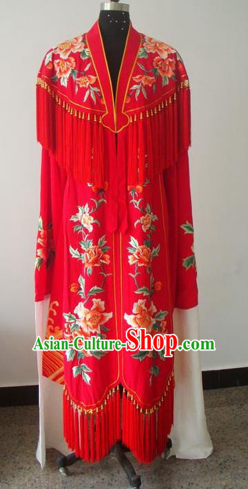 Chinese Traditional Beijing Opera Actress Costumes China Peking Opera Princess Embroidered Red Dress for Adults