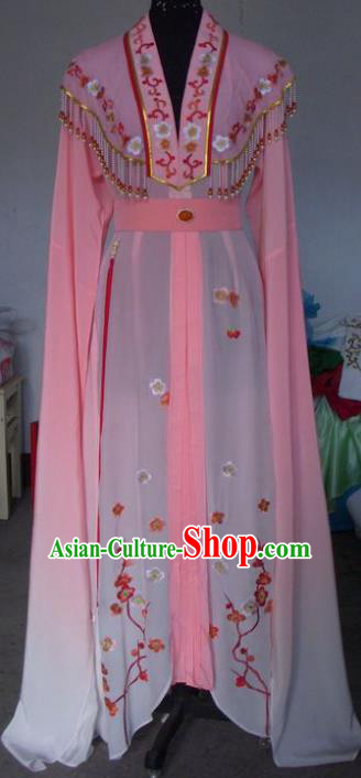 Chinese Traditional Beijing Opera Princess Embroidered Costumes China Peking Opera Actress Pink Dress for Adults