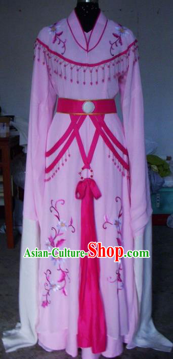 Chinese Traditional Beijing Opera Young Lady Costumes China Peking Opera Embroidered Pink Dress for Adults