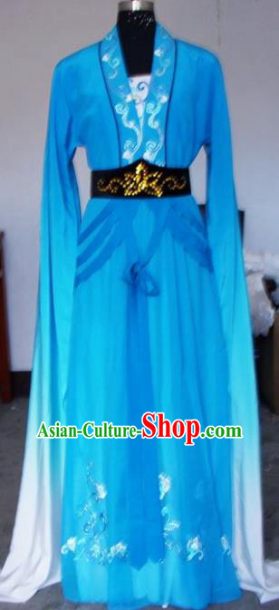 Chinese Traditional Beijing Opera Actress Blue Dress China Peking Opera Embroidered Costumes for Adults