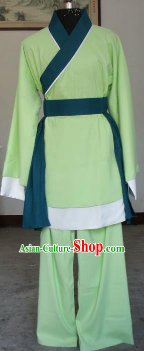 Chinese Traditional Shaoxing Opera Livehand Green Clothing Peking Opera Niche Costumes for Adults