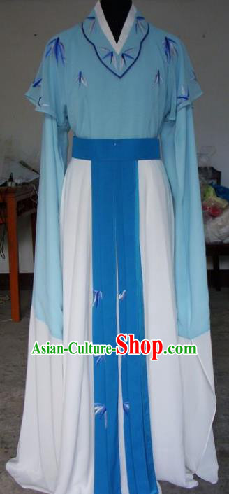 Chinese Traditional Beijing Opera Actress Embroidered Blue Dress China Peking Opera Princess Costumes for Adults