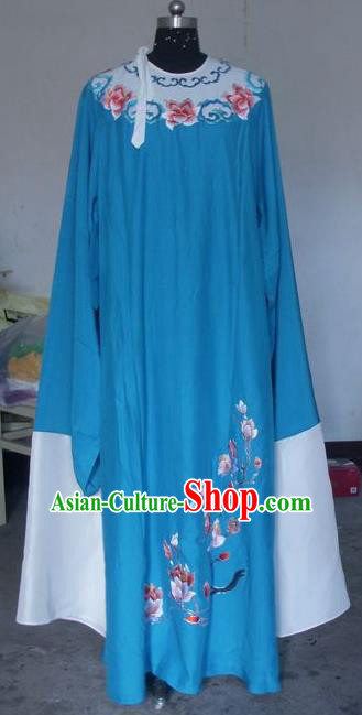 Chinese Traditional Shaoxing Opera Scholar Blue Robe Peking Opera Niche Embroidered Mangnolia Costumes for Adults