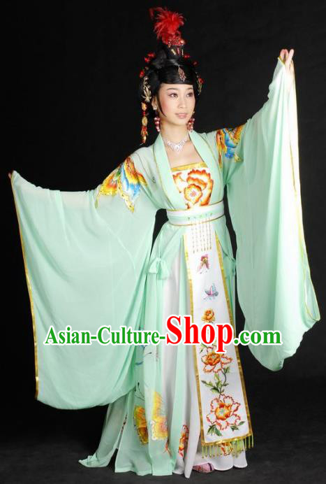 Chinese Traditional Beijing Opera Imperial Concubine Embroidered Green Dress China Peking Opera Diva Costumes for Adults