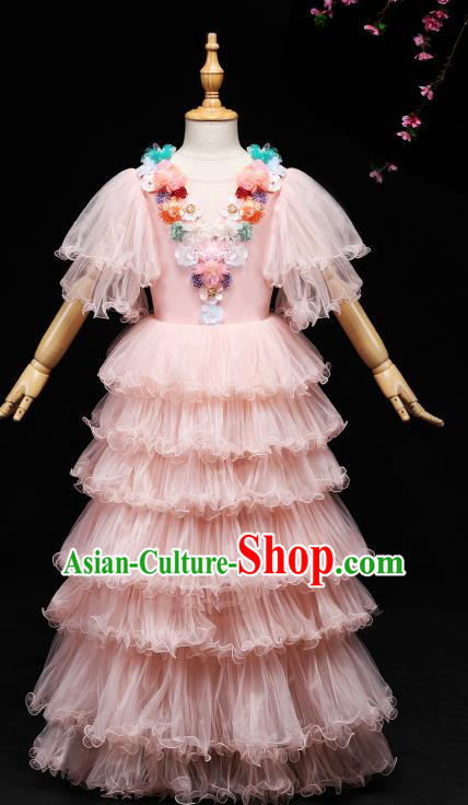 Children Modern Dance Costume Stage Piano Performance Pink Veil Dress for Kids
